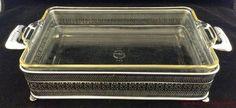 """Vtg Pyrex 10"""" x 6"""" Glass Baking Dish & Chrome Ornate Holder Trivet Filigree FR S #Pyrex"""