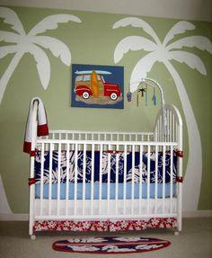 Blue And White Hawaiian Baby Boy Nursery Decor With Sea