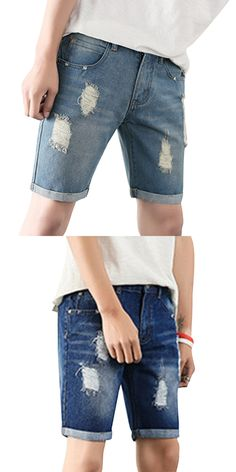 2017 Fashion Men Boys Ripped Jean Shorts Demin Shorts Hole Design Summer Broken Jeans Short Pants Size S-4XL