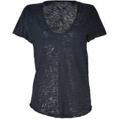 ZADIG & VOLTAIRE Black Metallic Tino Flame T-Shirt (€74) ❤ liked on Polyvore featuring tops, t-shirts, shirts, tees, short sleeve v-neck tee, tee-shirt, short sleeve tee, rounded hem t shirt and v neck t shirts