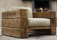 Home-Dzine Decorating a home in modern rustic style - Modern Chair - Ideas of Modern Chair - Railway sleeper arm chair. Home-Dzine Decorating a home in modern rustic style LOVE this chair! Rustic Style, Rustic Decor, Rustic Chair, Rustic Modern, Rustic Patio, Modern Patio, Wooden Chairs, Diy Patio, Modern Wall