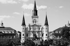New Orleans Photo - Fine Art Photography, St. Louis Cathedral, Big Easy, travel photo, Jackson Square, black and white, print, wall art, by MaplePhotos on Etsy