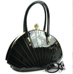 Black Jewel Top Shell Handbag