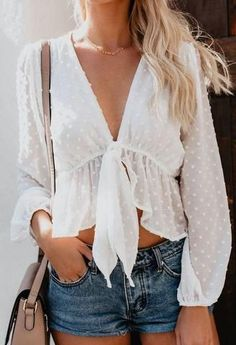 Blouse Women Sexy Transparent White Shirt Pullover Polka Dot Deep V-neck Detachable Bow Ruffles Lantern Sleeve Crop Tops Outfits For Teens, Trendy Outfits, Summer Outfits, Fashion Outfits, Womens Fashion, Fashion Tips, Fashion Ideas, Fashion 2017, Ladies Fashion