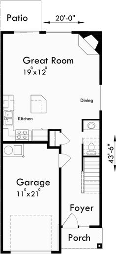 653584 2 story traditional plan perfect for a narrow for Fourplex plans with garage
