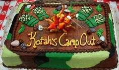 Camping themed birthday party (cake, food, activities, everything you could imagine!)