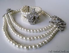 Vintage style pearls necklace and bracelet by OnlyHandmadeJewelry, $219.00