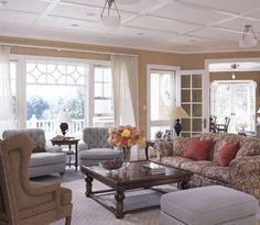 I am so into this look for our first floor! Create a Coffered Ceiling with Molding