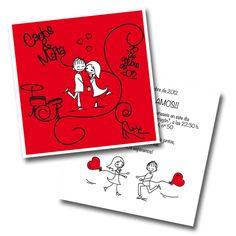 Diseño invitaciones de boda cuadradas 155x155 mm a 2 tintas