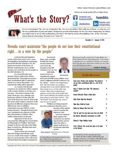 """What's the story december, 2015 color  Nevada court maintains, the people maintain their constitutional rights to a vote...Brian T. Shirley entertains with his """"underwear incident"""", Dennis DuPerault always gives you something to think about. Eddie Floyd is joined by Karen Woodmansee this month to talk about Hugh Roy Marshall's talk, Mike Aloia encourages us to pace ourselves, Bobby Joe Holman introduces you to the Ponderosa Saloon. Ken Roberts provides some alternative investments, Richard…"""