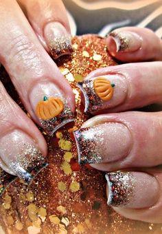 Pumpkin Spice Fall Nail Art