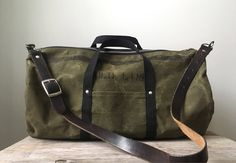 Repurposed Green Waxed Canvas Duffel Bag made from an old army tent ... from The COB Shop