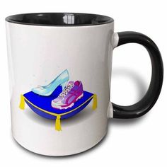 3dRose Running shoe and Princess glass slipper high heel on pillow. Girl woman runner run track race racing, Two Tone Black Mug, 11oz