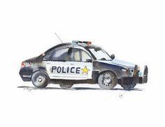 Police Car Boys Room Print  Car Nursery Watercolor Print