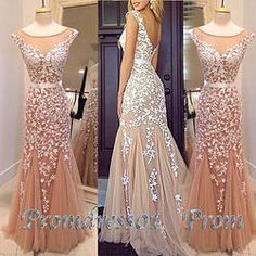 Gorgeous 2015 Champange high neck long chiffon lace prom dress for tens,ball gown, evening dress #promdress #wedding