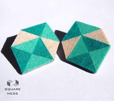 Geometric felt earrings by SquareMess on Etsy