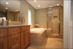 Pretty Recessed Lights Also Modern Remodeling Bathroom With Rectangular Bathtub And Wooden Vanity Cabinet