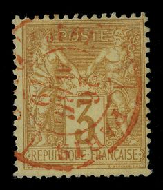 TYPE SAGE - 1879 - N°86 3c BISTRE-JAUNE (N SOUS U) CAD ROUGE DES IMPRIMÉS - TB- in Timbres, France, France: oblitérés | eBay
