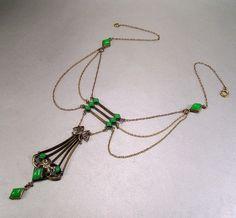 Antique Art Nouveau Jugendstil Gold Gilt Festoon Necklace Vintage 1890s Jewelry