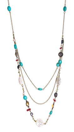 Three Strand Multicolored Necklace.
