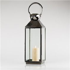 Large silver lantern from dusk
