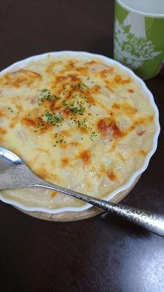 スライスポテトのグラタン Healthy Recipes, Healthy Food, Mashed Potatoes, Veggies, Cheese, Cooking, Ethnic Recipes, Japanese, Foods