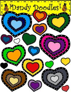 Freebie!  Shown layered but each heart comes in own file.  Layer for thousands of combinations.  Enjoy!