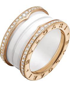 BVLGARI - B.zero1 four-band 18kt pink-gold white ceramic and diamond ring | Selfridges.com