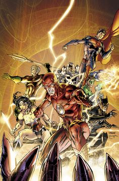speedforceorg:  Justice League #11 cover by Jim Lee, from DC's blog. I actually like the colors better on the digital combo pack version (the one with the yellow background).