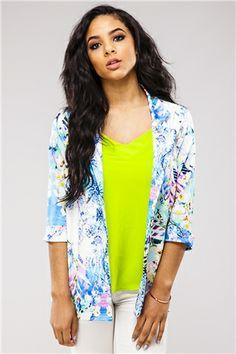 Orla Blue Floral Blazer at Misspap.co.uk