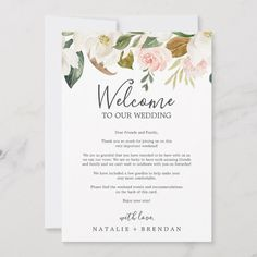 Shop Elegant Magnolia White Welcome Letter & Itinerary created by FreshAndYummy. Wedding Guest Bags, Destination Wedding Welcome Bag, Destination Weddings, Wedding Welcome Letters, Welcome To Our Wedding, Magnolia Wedding, Magnolia Flower, Watercolor Wedding, Floral Watercolor