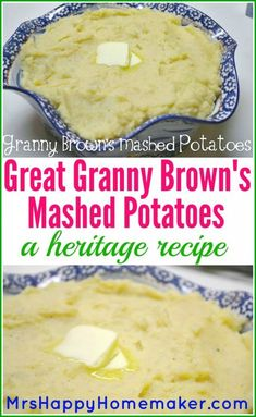 This is my Great Grandmother s recipe for Mashed Potatoes amp; they re absolutely delicious amp; SO EASY! A perfect old fashioned Southern heritage recipe! This is my Great Grandmother s recipe for Mashed Potatoes amp; Russet Potato Recipes, Perfect Mashed Potatoes, Easy Potato Recipes, Mashed Potato Recipes, Old Recipes, Vintage Recipes, Cooking Recipes, Paula Dean Mashed Potatoes Recipe