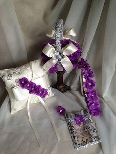 purple flower girl basket with brooch  purple by TheCrystalFlower, $249.00