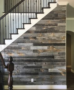 @stikwooddesign Reclaimed Weathered Wood staircase wall accent. More