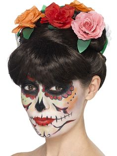 Day of the Dead Frida Wig - This beautiful Day of the Dead Frida wig features an up-do with roses and leaves and a fringe. Great for a festival or for Halloween. Use our face paint to create a sugar skull look.