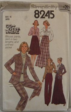 Vintage Sewing Pattern Simplicity 8245 - Women Blouse, Pants, Skirt & Jacket - Sizes 16 - UNCUT