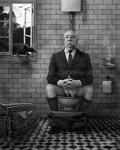 Alfred Hitchcock, Black And White Portraits, Black And White Photography, Vintage Posters, Vintage Photos, Toilet Art, Toilet Bowl, Render People, Cigar Art