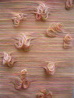 Fabric Art by Marit Fujiwara Textile Texture, Textile Fiber Art, Textile Artists, Weaving Textiles, Weaving Art, Art Du Fil, Textiles Techniques, Textile Patterns, Art Patterns