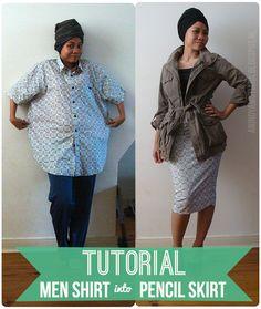 anienessence: DIY: Easy Peasy Pencil Skirt from Men Shirt