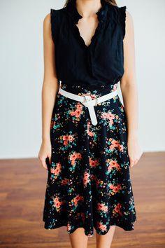 Agnes & Dora Midi Skirt // add a belt