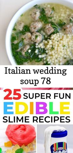 Italian wedding soup 78 Italian wedding soup in a white bowl 25 AWESOME edible slime recipes for kids. These best edible slime recipes are not only super fun BUT super safe for little ones to play with. Best Edibles, Edible Slime, Mexican Wedding Cookies, Wedding Soup, Garden Wedding, White Bowl, Slime Recipe, Few Ingredients, Italian Soup