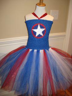 Captain America Tutu Dress Avengers Super Hero Costume by TieDyedFairyTales on Etsy