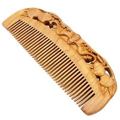 YOY Natural Wood Hair Comb  Handmade Antistatic No Snag Brush for Mens Mustache Beard Care Anti Dandruff Women Girls Head Hair Accessory Peach * Check out this great product.