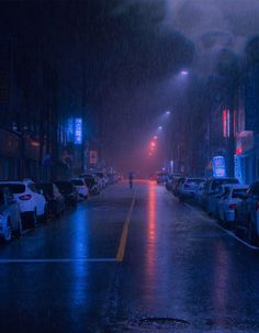 photography A rainy street in Cheongju, South Korea. Neon Aesthetic, Night Aesthetic, Aesthetic Backgrounds, Aesthetic Wallpapers, Images Esthétiques, Free Images, Rainy Street, Rainy City, Night Vibes