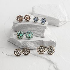 One of my favorite discoveries at WorldMarket.com: Gold Flower Opal Stud Earrings Set of 5