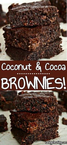 Fudgy Cocoa Brownies | This brownie recipe is a delicious chocolate recipe for an easy-to-make dessert. Combination of raw cocoa, dark chocolate and coconut flakes is just mouthwatering! | https://eatingcheating.com #brownies #chocolate #simpledessert #cocoabrownies