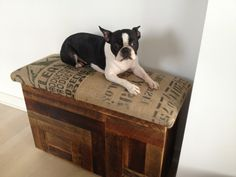 I really like this, too!  Very clever!    Salvaged wood and recycled coffee sack storage benches. $340.00, via Etsy.