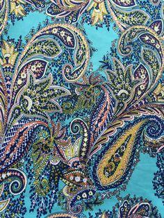One of our favorite new fabrics of the season, Fete Royale Aqua Paisley Knit Fabric! Paisley Fabric, Paisley Pattern, Paisley Park, Border Print, Pretty Patterns, Knitted Fabric, Fabric Patterns, Print Design, Aqua