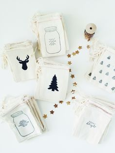 New Christmas packaging ! Deers + Christmas Trees + mason jars + stamps