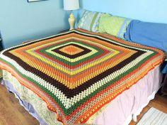 Harvest Color Rainbow Vintage Crocheted Afghan by heartkeyologie